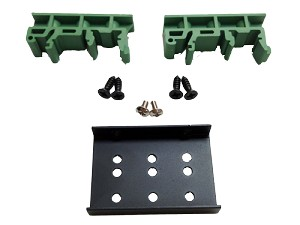 Green DIN Rail Clip Kit - 2 DIN Rail Clips and Screws